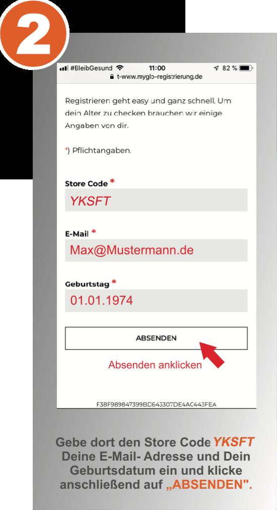 Schritt 2 der myglo Registrierung