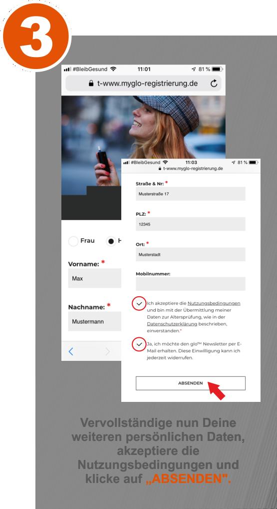 Schritt 3 der myglo Registrierung